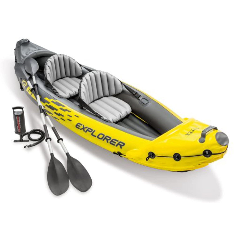 Explorer K2 Kayak, 2-Person Inflatable Kayak Set with Aluminum Oars and High Output Air Pump