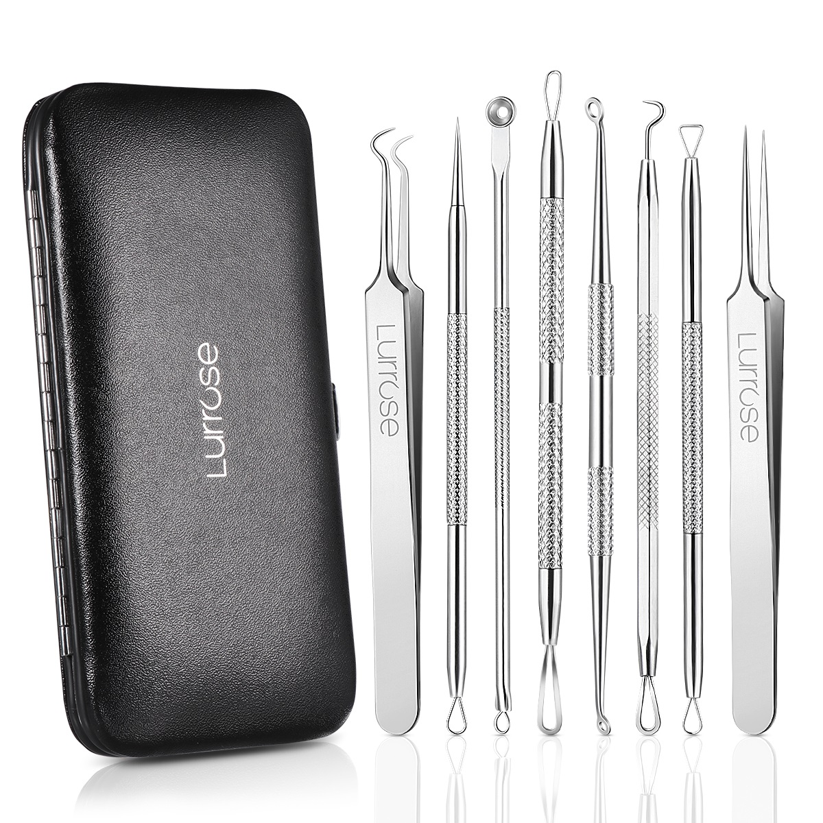 8Pcs Blackhead Remover Tool Kit, Blackhead Tweezers Kit, Acne Extractor Tool, Professional Stainless Pimple Acne Blemish Removal Tools Set with Metal Case