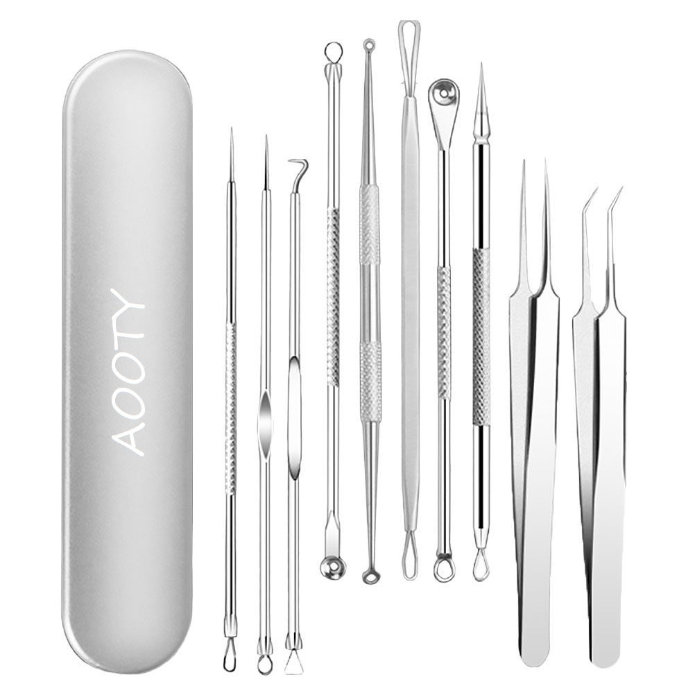 Blackhead Remover Tool, Aooeou Professional Pimple Popper Tool Kit - Treatment for Blemish, Whitehead Popping, Zit Removing for Risk Free Nose Face, Anti-slip Coating Handle (b-sliver)